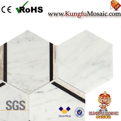Hexagon Golden Edges Marble Mosaics
