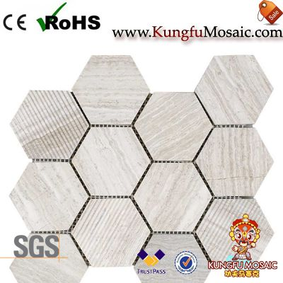 Hexagon Wood marble mosaic tile backsplash