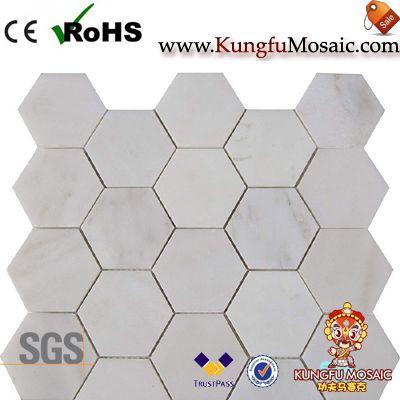Mosaïque en pierre hexagone blanc