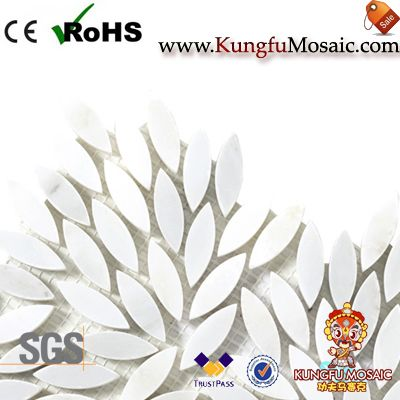 Leaf Pattern Pure White Marble Mosaic