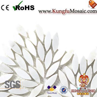 Feuille pur blanc marbre mosaïque