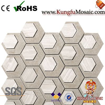 Modern Hexagon Mosaic Marble Floor