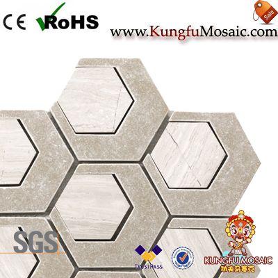 Modern Hexagon Mosaic Marble Floor