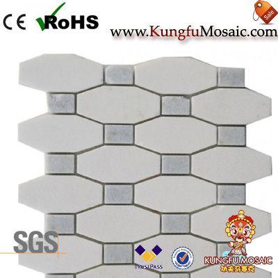 Octogone blanc mosaïque en pierre
