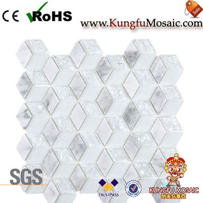 Rhombus Stone Mosaic Glass Tiles