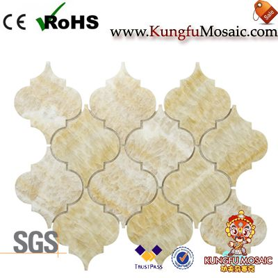 Yellow Onyx Arabesque Stone Mosaic