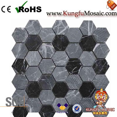 Acid Mixed Black Stone Mosaic