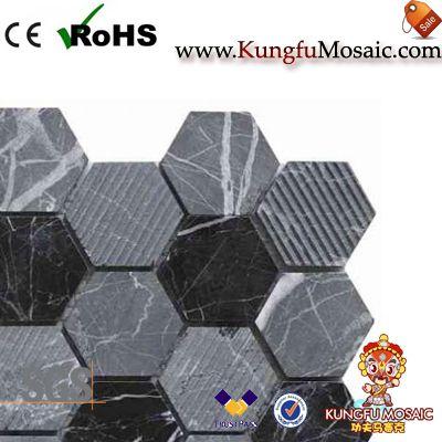 Mosaïque en pierre noire mixte acide