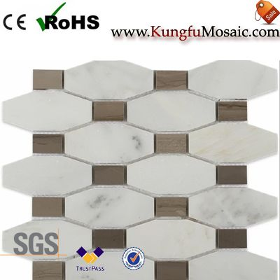 Coffee Octagon White Marble Mosaic