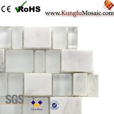 Glass And White Marble Mosaic Brick