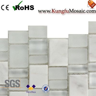 Glass And White Marble Mosaic Brick