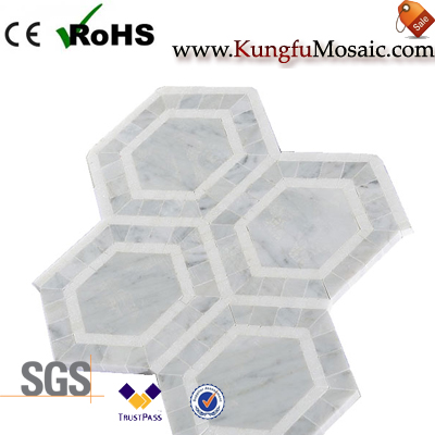 Hexagon Marble Mosaic Floor Tile