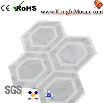 Sechseck-Marmor Mosaik-Fußboden-Fliese