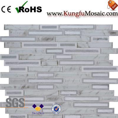 Azulejo de mosaico de piedra blanca que se enclavija