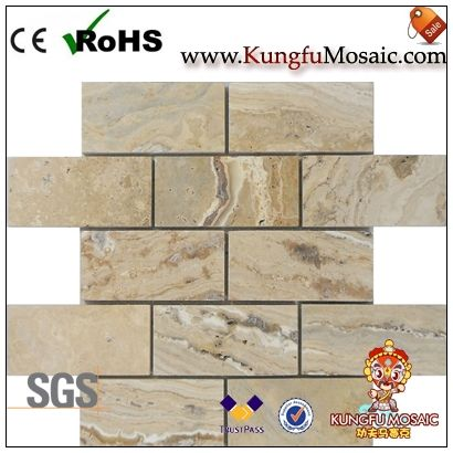 River Beige Brick Travertin Mosaik Fliesen