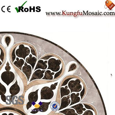 Round Cafe Water Jet Marble Mosaic