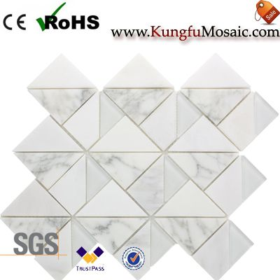 Square Triangle White Marble Mosaic