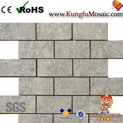 Strip Grey Travertine Mosaic Tile