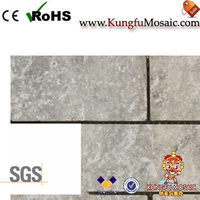 Strip Grey Travertine Mosaic Tile