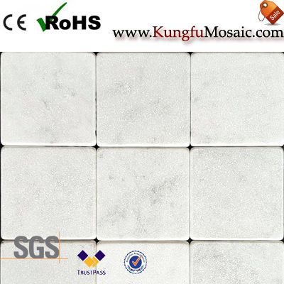 Tumbled White Marble Tiles Backsplash
