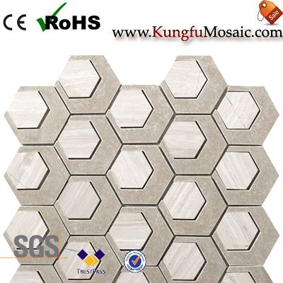Beige Marble Mosaic Hexagon Tiles