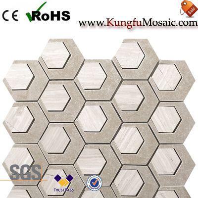 Carreaux hexagonaux de mosaïque en marbre beige