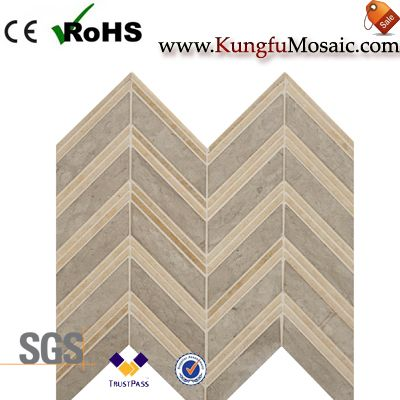 Chevron Mesh Marble Bathroom Mosaic Wall
