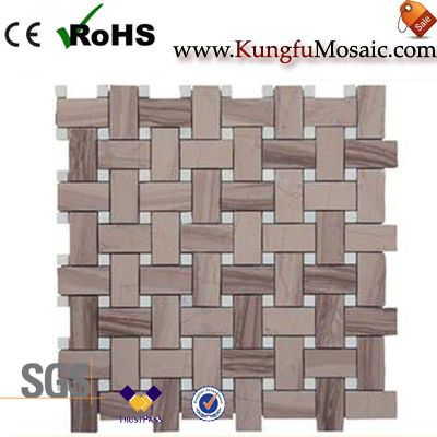 Coffee Wooden Basketweave Marble Mosaic