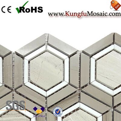 Grey and White Hexagon Marble Mosaic
