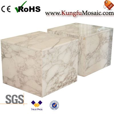 Italian White Marble Block Table
