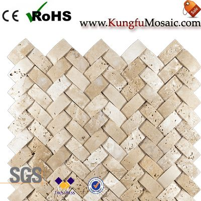 Mosaico de travertino marfil Basketweave