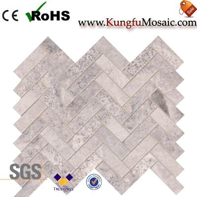 Silver Travertine Mosaic Tile Brick