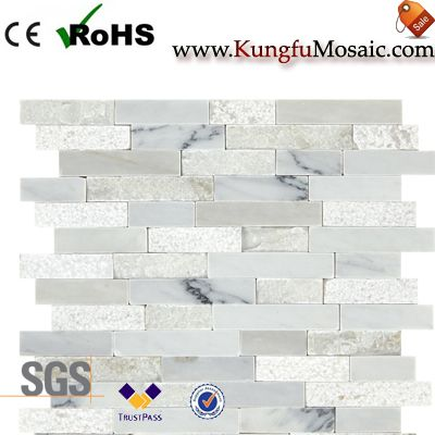Split Wall White Stone Mosaic Tiles