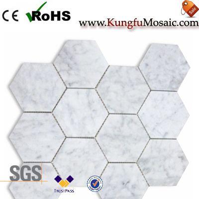 hexagone de carreau de mosaïque de marbre pour bain