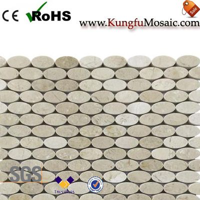 Beige Oval Marble Mosaic Wall Tiles