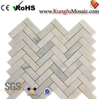 calacatta gold herringbone marble tile floor