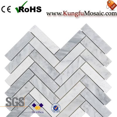 carrara marble herringbone tile backsplash
