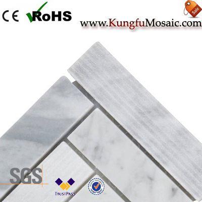 carrara marble herringbone tile backsplash