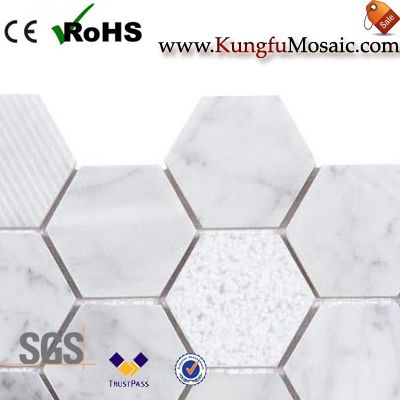 white marble mosaic tile bathroom floor