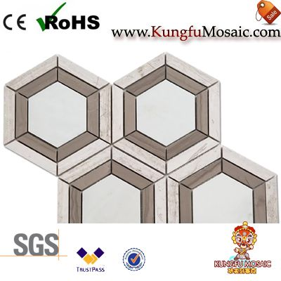 Athens marble mosaic tile hexagon
