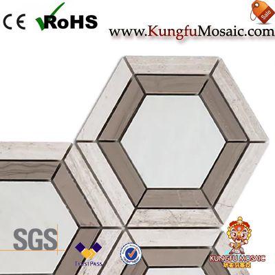 Athens marble mosaic tile hexagon