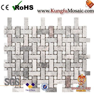 Basket Weave Marble Mosaic Tiles Bathroom