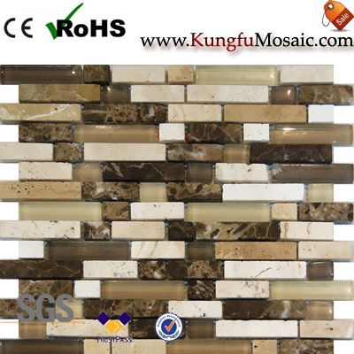 Beige Marble Mosaic With Glass Strip