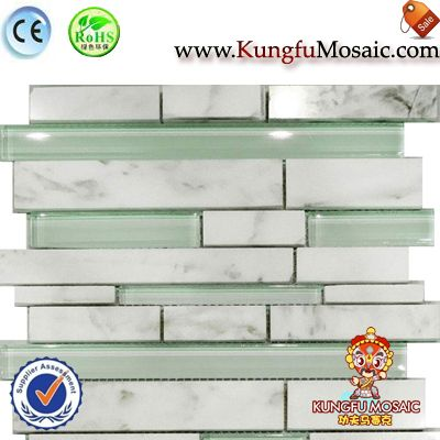 Carrara Marble Mosaic With Green Glass
