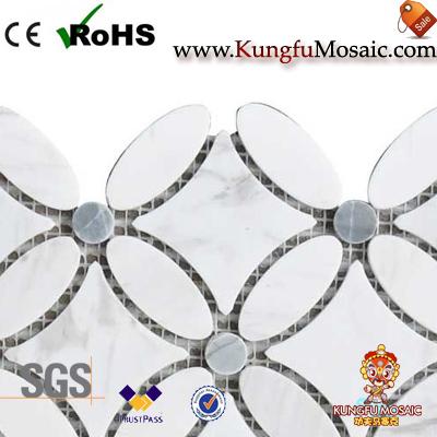 Circle Shape Marble Mosaic Tiles For Bath