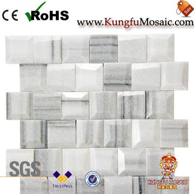 Geometric White Marble Mosaic Tiles