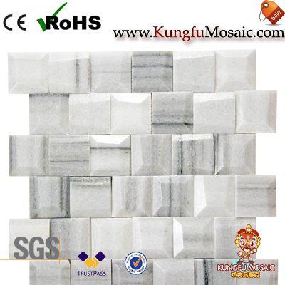 Геометрические белые мраморные мозаичные плитки