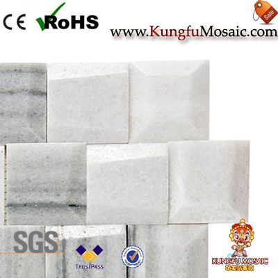 Carreaux géométriques de mosaïque de marbre blanc