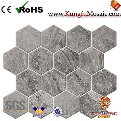 Grey Travertine Mosaic Hexagon Tiles