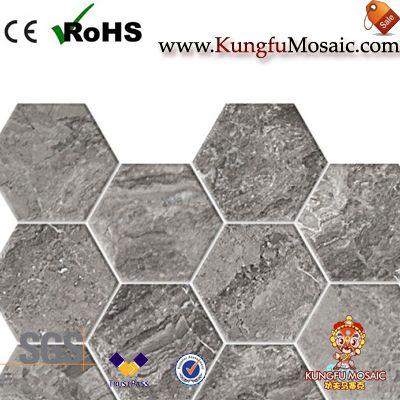 Grey Travertine Mosaic Hexagon Tiles